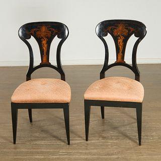 Pair Biedermeier penwork, lacquer side chairs