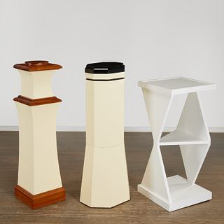 (3) Post-Modern lacquered wood display pedestals