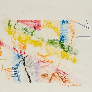 Larry Rivers, color pencil drawing, 1977