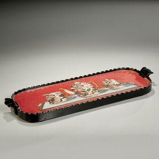 Victorian needlepoint tea tray