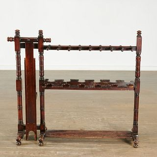 English mahogany equestrian boot and whip rack
