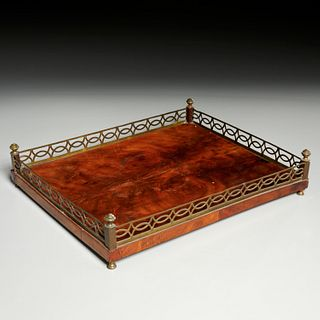 George III brass mounted flame mahogany tray