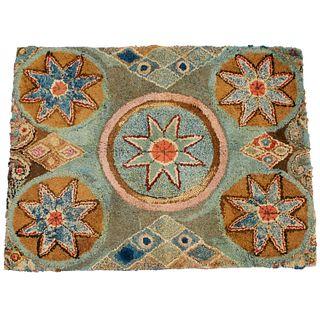American Folk Art hooked rag rug