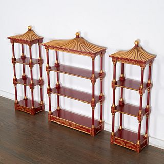 Set (3) Chinoiserie pagoda-form wall etageres