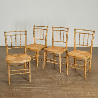 (4) faux painted bamboo side chairs, Parish-Hadley