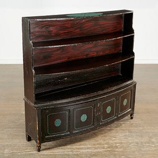 American Classical grain painted bookcase