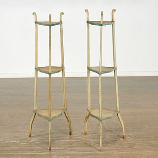 Pair painted three-tier stands, Parish-Hadley