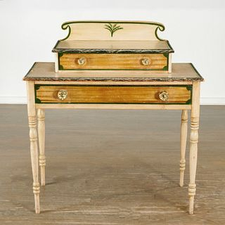 American cream and green painted dressing table