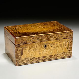 Chinese Export lacquer tea caddy