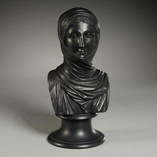 Wedgwood, black basalt bust of Vestal
