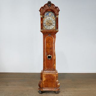 Dutch Baroque walnut tall clock, ex Jack Warner