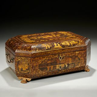 Chinese Export gilt lacquered sewing box