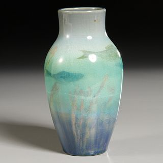 "Rookwood, Ed Hurley sea green ""Fishes"" vase"