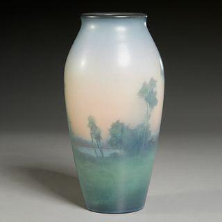 Rookwood, Vellum Scenic vase, artist initialed
