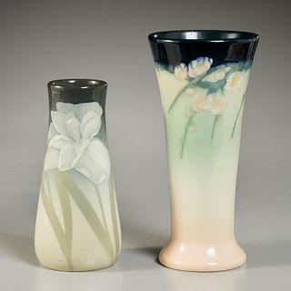 Rookwood, (2) Elizabeth Lincoln vases