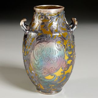 Rookwood, Edward Able silver-overlay vase