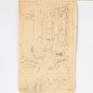 Edouard Vuillard (attrib.), pencil on cream paper