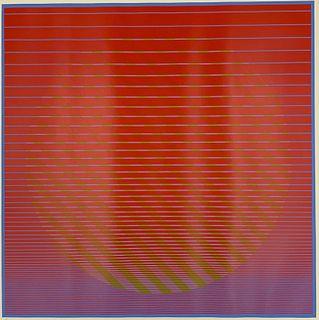 "Julian Stanczak Screenprint, ""Sunset"""