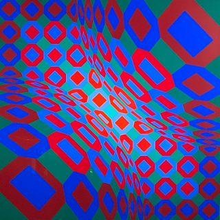 "Victor Vasarely Screenprint, ""Enigmes"""