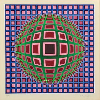 "Victor Vasarely Serigraph,  ""Cosca II Pink"""