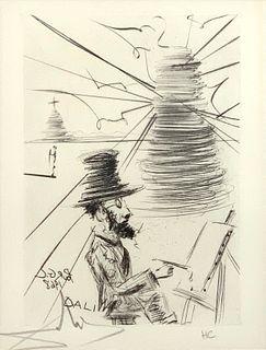 """Salvador Dali Etching, """"Toulouse-Lautrec"""""""