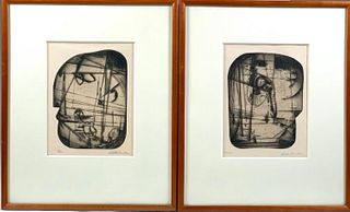 """Pair of Dorothy Rutka Kennon Etchings, """"Woman"""" and """"Man"""""""