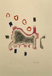 "Luis Lopez Loza Aquatint ""Walking and Smoking"""