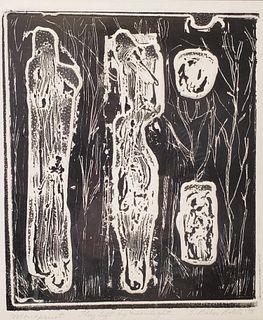 "S. Baker Bolete Monoprint, ""They Left By Moonlight"""