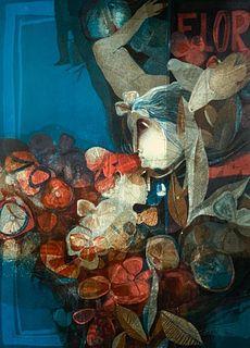 "Sunol Alvar Lithograph, ""Barcelona Suite, No. 4. "" and Book"