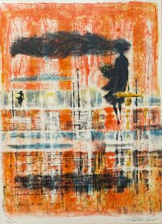 """Georges Schreiber Lithograph, """"After the Rain"""""""