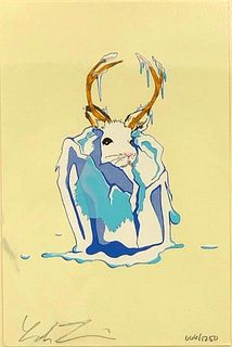 "Leah Tinari Screenprint, ""Jackalope Frozen in Ice"""