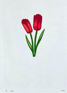 """Cecilia Davila Intaglio Print, """"Tulips"""""""