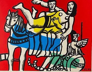"""Fernand Leger Lithograph, """"The Game"""""""