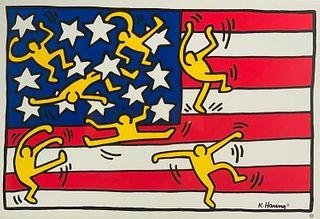 Keith Haring Framed Poster, Flag