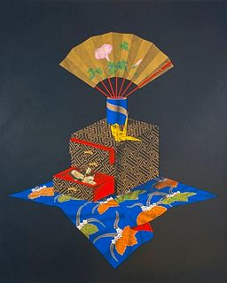 "Wako Shuji Lithograph, ""Hide and Seek"""