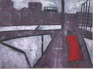"Tadashige Ono Color Woodblock Print, ""Rain"""