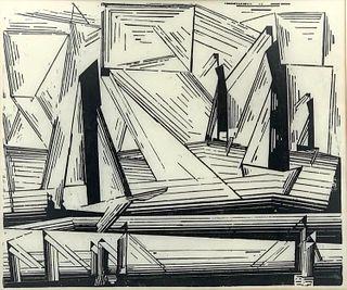 "Lyonel Feininger Woodcut, ""Fishing Boats"""