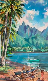 """Marcel Busson Oil, """" Cooks Bay,"""" French Polynesia"""