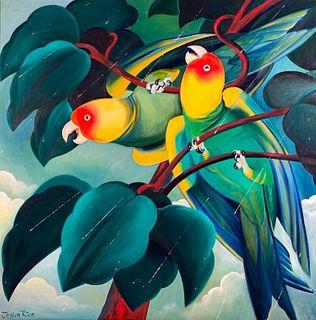 Jessica Rice Oil, Parrots in Rain