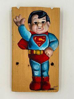 "Trace Drury Painting, ""Superman Waves Hello"""