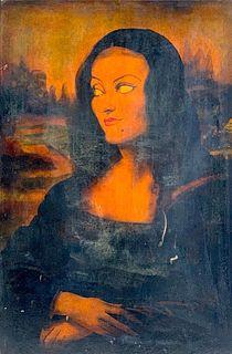 John Decker Oil, 'Garbo as The Mona Lisa'