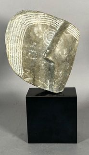 Carved Gray Alabaster Sculpture, Two Heads