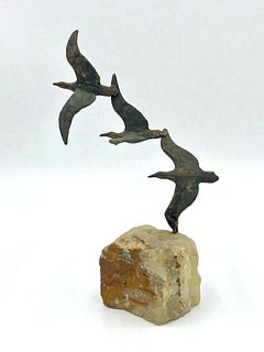 Curtis Jere Brass and Onyx Seagull Sculpture