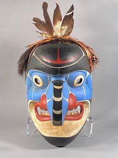 Chief Lelooska Carved Wood Northwest Coast Large Mask