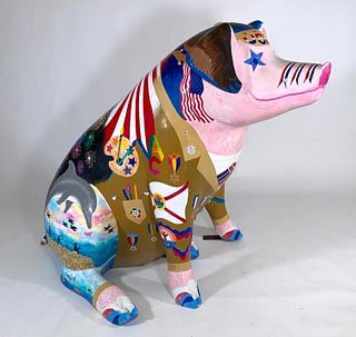 Catherine H. Beausoleil Hand Painted Fiberglass Pig