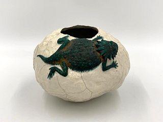 Glazed Stoneware Vase With Lizard