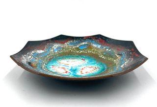 Enamel on Copper Dish By A.Urbas