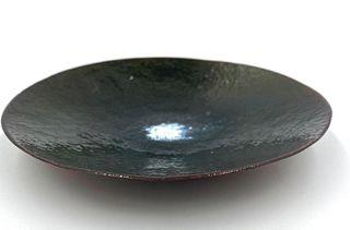 Modern Enamel on Copper Dish, Unsigned
