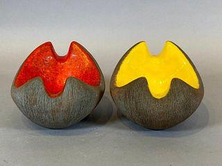 Two Marcello Fantoni Glazed Ceramic Ash Bowls