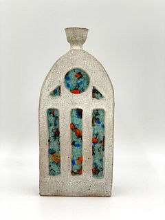 Michael Gordon Attributed Stoneware and Glass Vase